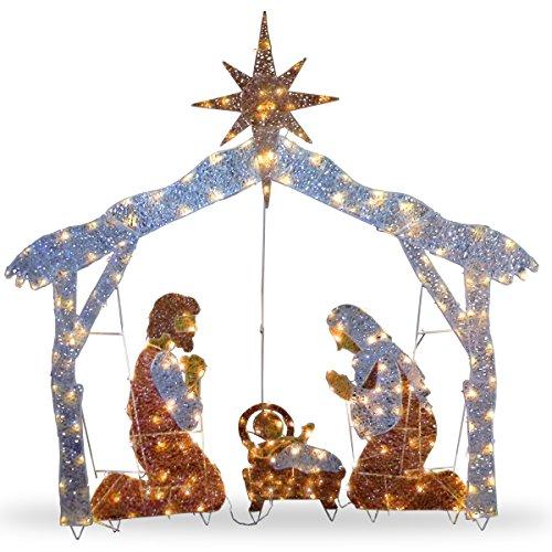 National Tree 72 Inch Crystal Nativity with 250 Clear Mini Lights (DF-250001U) (Christmas Decor Nativity Outdoor Scene)