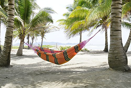 FMS Extra Large Brazilian Mayan Hammock Portable Single or Double Hammock Handmade with 100% Soft Cotton (Tropical Multicolor) by - Single Brazilian