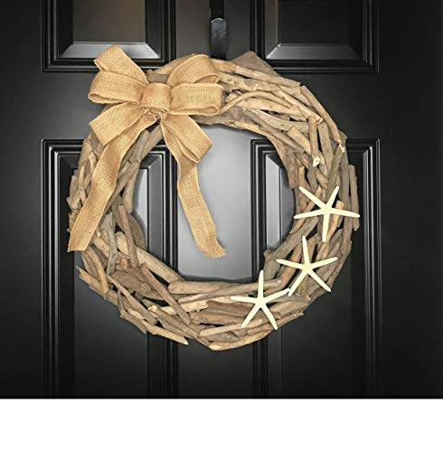 Natural Driftwood Wreath with Starfish & Burlap Bow for Front Door Summer Summertime Spring Winter Fall Year Round Cottage Nautical Beach Coastal Home Decor, Christmas Beach Lover Gift, Handmade 19""