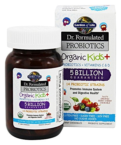 Garden of Life - Dr. Formulated Probiotics Organic Kids+ - Acidophilus and Probiotic Promotes Immune System, Digestive Health - Gluten, Dairy, Soy-Free, No Sugar Added - 30 Chewables (Shipped (Promotes Immune System)