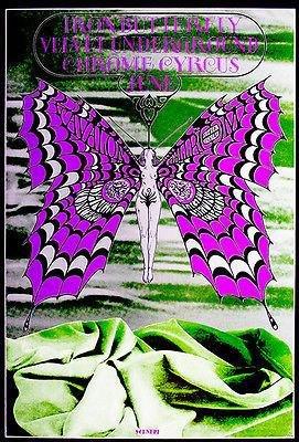 Velvet Poster Butterfly (Iron Butterfly - The Velvet Underground - 1968 - Avalon Ballroom - Concert Poster)
