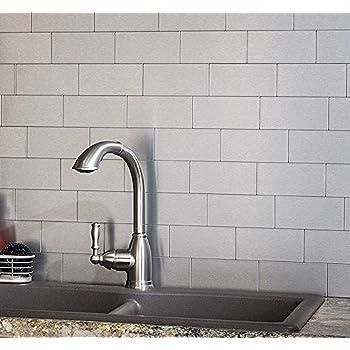 Art3d 100-Piece Peel and Stick Stainless Steel Backsplash Self-Adhesive Metal Tiles, 3