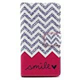 Camiter Smile Wave Design Luxury Premium PU Leather Wallet Folio Protective Skin Pouch Case with Magnetic Closure for Sony Xperia M2 D2303 D2305 D2306
