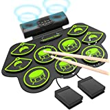Electronic Drum Set, Roll Up Drum Practice Pad Midi Drum Kit with Headphone Jack Built-in Speaker Drum Pedals Drum Sticks 10 Hours Playtime, Great Holiday Birthday Gift for Kids