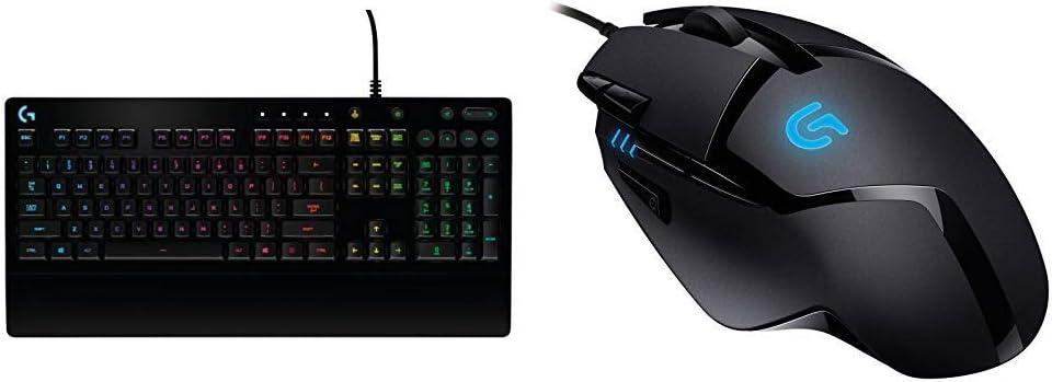 Logitech G213 - Teclado para Gaming Prodigy (con retroiluminación RGB - Distribución QWERTY español) + G402 - Ratón para Gaming con 8 Botones programables Hyperion Fury, Color Negro