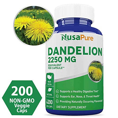 Dandelion Extract 2250mg 200 Veggie Capsules (Non-GMO, Extract 5:1 & Gluten Free) Taraxacum Officinale - Helps to Detox Cleanse Kidney, Liver & Whole Body (Dandelion Pills)