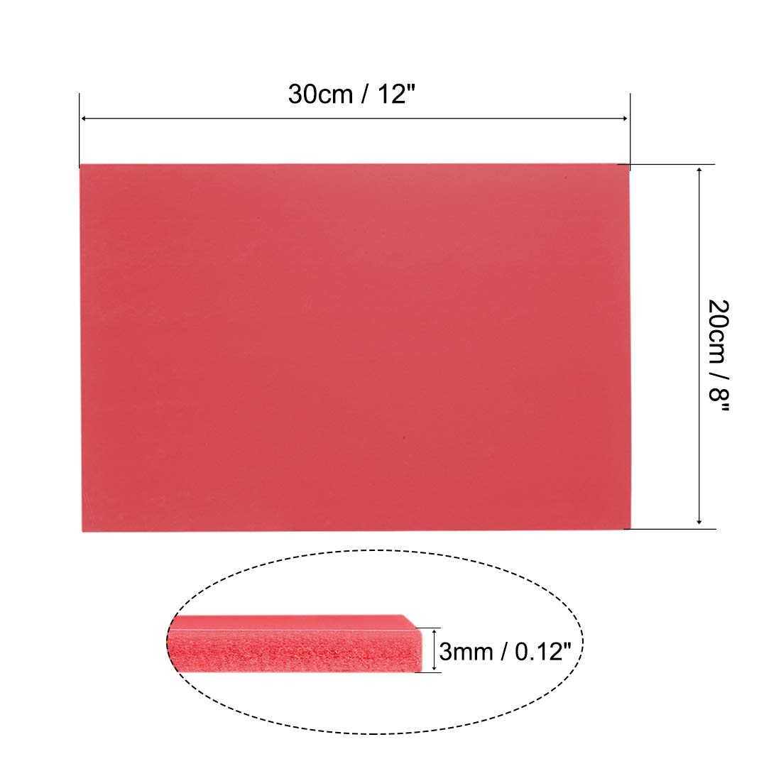 """Artsand Crafts,Framing,Display uxcell PVC Foam Board Sheet,3mm T x 8W x 12/""""L,Red,Double Sided,Expanded PVC Sheet,for Presentations,Signboards"""