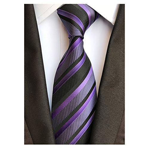 AVANTMEN Classic Plaid Striped Necktie for Men Tie Pocket Square Set + Gift Box (Striped Tie_Purple (Plaid Mens Neck Tie)
