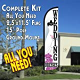 WEDDING DRESSES Windless Feather Banner Flag Kit (Flag, Pole, & Ground Mt) For Sale