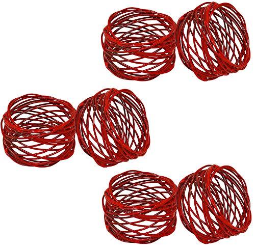 (SKAVIJ Handmade Red Napkin Rings Set of 6 Metal Mesh for Weddings Dinner Parties or Every Day Use)