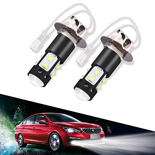 LTPAG 2pcs H3 LED Fog Lights Bulbs or DRL, 50W 2000 Lumens Automotive Fog Lamp Bulbs Replacements IP68 6000K Super Bright LED Driving Lights Xenon White, 2 Year Warranty