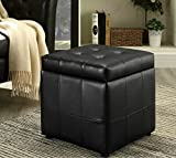 Leather Storage Coffee Table Ottoman Tufted Modern Footstool Chair Furniture (Black)