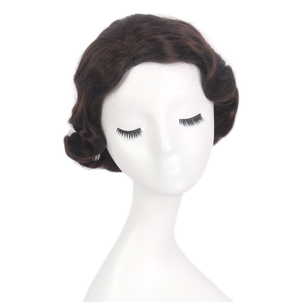 STfantasy Finger Wave Wig Brown Bob Short Curly for Women Cosplay Party Costume Hair 12'' by STfantasy (Image #5)