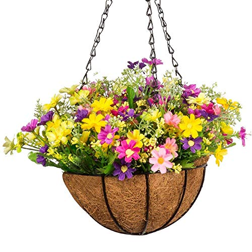 Flower Outdoor Baskets (Mixiflor Artificial Daisy Flowers, 10 inch Artificial Hanging Planets Silk Flower. Hanging Basket with Chain Flowerpot for Home Outdoor Decoration)