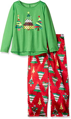 Komar Kids Girls' Big Girls' Christmas Tree 2pc Sleepwear Set, Red, M