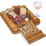 Cheese Board with Cutlery Set, Wood Charcuterie Platter and Serving Meat & Cheese Board with Slide-Out Drawer with 4 Stainless Steel Knife and Server Set - By Frux Home and Yard