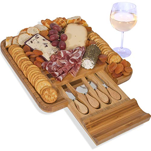 Home Board Cheese Kitchen (Cheese Board with Cutlery Set, Wood Charcuterie Platter and Serving Meat & Cheese Board with Slide-Out Drawer with 4 Stainless Steel Knife and Server Set - By Frux Home and Yard)