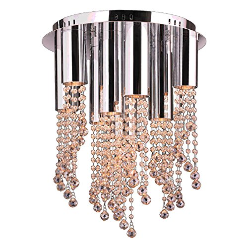 Worldwide Lighting Metropolis Collection 10 Light Halogen Chrome Finish And Golden Teak Crystal Flush Mount 15  D X 20  H Medium