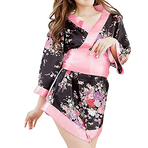 Japanese Kimono Role Lingerie Set 3/4 Sleeve Mini Dress with OBI Belt Sexy Girl Geisha Cosplay Costume Outift (Pink)
