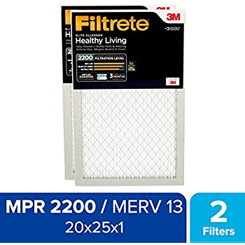 Filtrete 20x25x1 MPR 2200, Healthy Living Elite Allergen Reduction AC Furnace Air Filter, 2-Pack