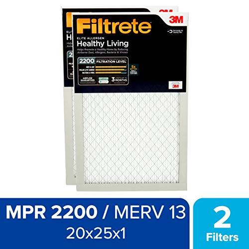 Filtrete 20x25x1 MPR 2200, Healthy Living Elite Allergen Reduction AC Furnace Air Filter, 2-Pack (Air Filter Filtrete 20x25x1)