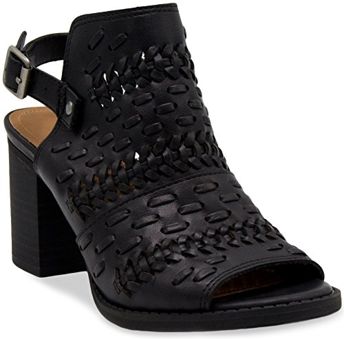e Slingback Ankle Boot Peep Toe Bootie With Buckle and Whipstitch Detail 6.5 Black (Buckle Detail Ankle Boots)