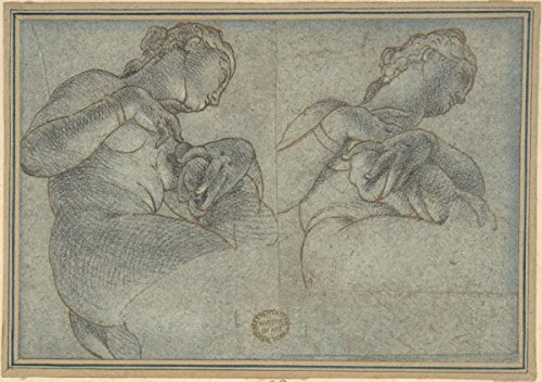 """Drawing """"Two Studies of a female Figure or Statue""""   Artist: Anonymous, Italian, 16th century  Created: 16th century  Medium: Pen and brown ink, blue chalk, on blue-gray paper"""