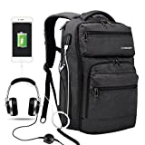 Poruary Laptop Backpack with USB Charging Port Headphone Port Business Backpack Fit 15.6/15/14 Inch Laptop,Macbook Waterproof Tear Resisting Travel Backpack for College Student Men Women …
