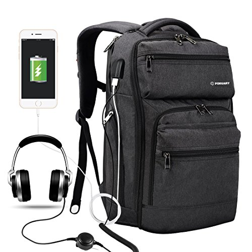 Port No Pressure (Poruary Laptop Backpack with USB Charging Port Headphone Port Business Backpack Fit 15.6/15/14 Inch Laptop,Macbook Waterproof Tear Resisting Travel Backpack for College Student Men Women …)
