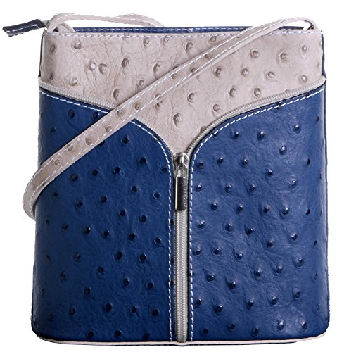 Italian Leather Hand Made Ostrich Effect Small Navy Blue and Beige Cross Body or Shoulder Bag Handbag. Includes a Branded Protective Bag