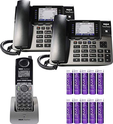 RCA U1000 Unison Base Station 4 Line Phone Systems for Small Business with Digital Receptionist Bundled with RCA U1100 Wireless Deskphone, U1200 Cordless Accessory Handset and 10 Blucoil AAA Batteries