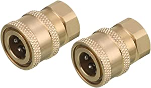 RIDGE WASHER Pressure Washer Coupler, Brass Fittings, 1/4 Inch Quick Connect to Female NPT, 5000 PSI, 2 Pack