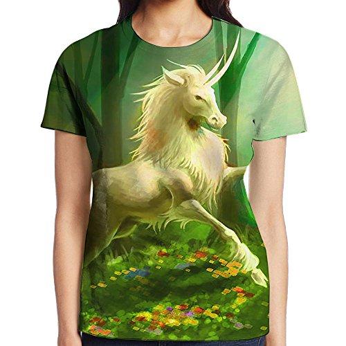 Unicorn Bring Spring Women Athletic Short Sleeve T-Shirts Graphic Crew Neck (German Shorthaired Pointer Umbrella)