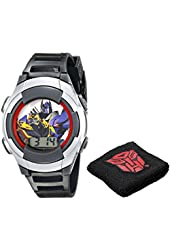 Hasbro Kids' TF4007T Transformers Digital Display Quartz Black Watch with Wristband Gift Set