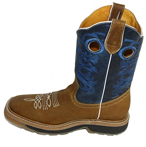boots square Men PLAIN Boots Brown Leather toe cowboy western rodeo Cowhide Blue Genuine 5aqaYwp