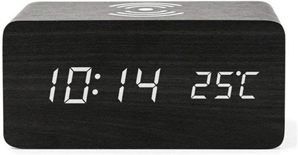 Cargador inalámbrico Qi Reloj de Madera Pantalla LED Digital Multifunción Control de Voz Termómetro para Escritorio Reloj Despertador Oficina