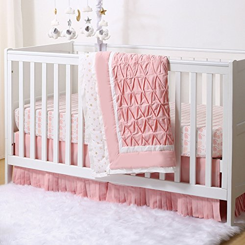 Coral Swans and Stars Pleated 3 Piece Crib Bedding Set by The Peanut Shell ()