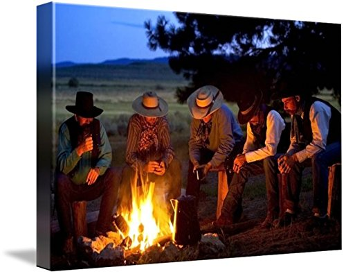 30 Western Campfire (Wall Art Print entitled Group Of Cowboys Around A Campfire by Design Pics | 48 x 32)
