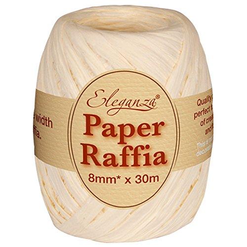 Eleganza, 8 mm x 30 m, Paper Raffia per un'ampia gamma di progetti creativi e per pacchi regalo, No.61, colore: avorio Oaktree UK 629943