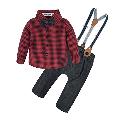 (BIG ELEPHANT Baby Boys' 2 Pieces Gentle Pants Clothing Set with Bowtie (0-3 Months, Long Sleeve Shirt+Pant))