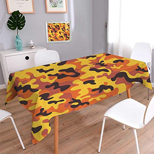 Anmaseven Camo Square Patterned Tablecloth Lively Colors Retro Style Camouflage Texture Modern Print Illustration Dust-proof Oblong Tablecloth Yellow Orange Dried Rose Size: W60 x L60