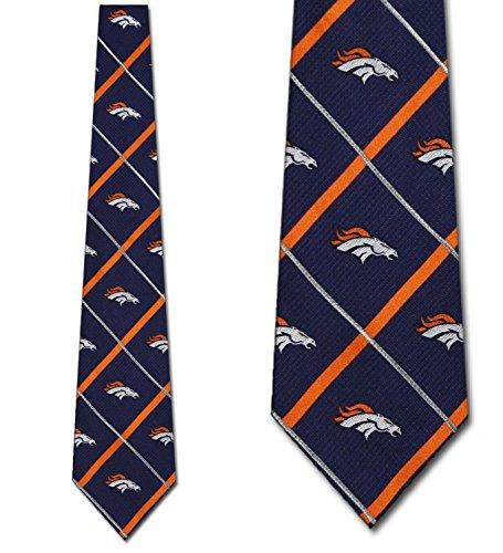 Denver Broncos Ties Silver Line Mens Silk Neckties