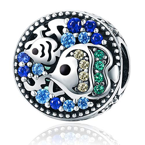 925 Sterling Silver Fish Charm Luck Bead Colorful Cubic Zirconias for European Charm -