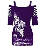 Hoodies for Women Pullover Plus Size,Women's Plus Fashion Hoodies & Sweatshirts,Fashion Rock Gothic Casual Ripped Sling Blouse,Purple,M