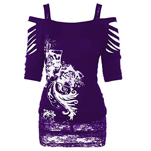 Livoty Women Off Shoulder Rock Gothic Shirt Casual Ripped Sling Blouse Top Lace Print Half Sleeve T-Shirt (XL, Purple)