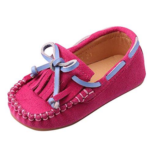 YiJee Jungen Mädchen Halbschuhe Mokassins Comfort Flache Schuhe Rose