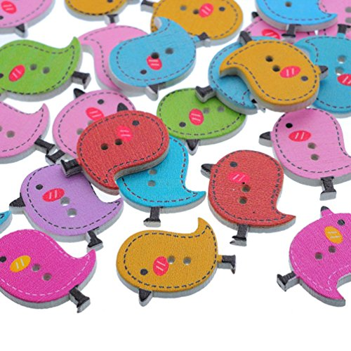 Souarts Mixed Bird 2 Holes Wooden Buttons Pack of 50pcs