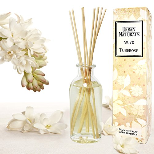 Urban Naturals Tuberose Fragrance Oil Reed Diffuser | Exotic Tuberose and Fragrant Orange Blossom | Floral Aromatherapy Room Perfume with Reeds | USA Made by by Urban Naturals