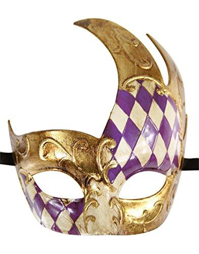 Luxury Mask Men's Vintage Design Masquerade Mask - Purple / Gold Checkered ()