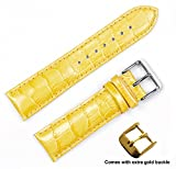 deBeer brand Crocodile Grain Watch Band (Silver & Gold Buckle) - Yellow 10mm